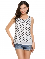 White Sleeveless O Neck Chiffon Polka Dot Pullover Tank Top