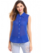Blue See-through Loose Solid Button Down Shirt Blouse