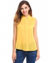 Yellow See-through Loose Solid Button Down Shirt Blouse