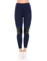 Navy blue High Waist Patchwork Stretch Tights Casual Skinny Leggings