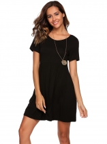 Black Short Sleeve Solid Short Shift Dress