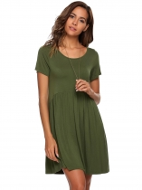 Army green Short Sleeve Solid Short Shift Dress