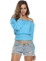 Blue Solid Off the Shoulder Long Sleeve Shirring Fitted Waist Crop Top