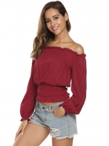 Wine red Solid Off the Shoulder Long Sleeve Shirring Fitted Waist Crop Top