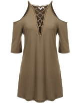 Khaki V-Neck Solid Cross-straps Cold Shoulder Pleated Hem Tunics