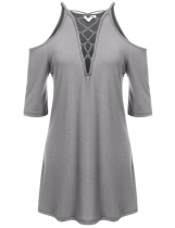 Light gray V-Neck Solid Cross-straps Cold Shoulder Pleated Hem Tunics