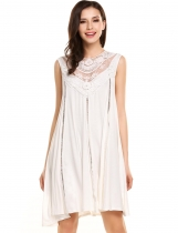 White Sleeveless Lace Patchwork Hollow Out Loose Shift Casual Dress