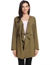 Army green Collarless Button Cuff Long Sleeve Solid Dropped Cardigan with Pockets