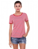 Red Striped Contrast Color Elastic Pullover O-Neck Short Sleeve T-Shirt