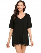 Black Half Sleeve Solid Tassel-trimmed Hem Mini Dress