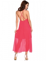 Rose red Hollow Back Spaghetti Strap Sleeveless Chiffon Beach Slip Dress
