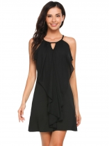 Black Sleeveless Solid Spaghetti Straps Slip Dress