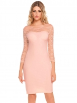 Pastel pink 3/4 Sleeve Lace Patchwork O Neck Party Cocktail Pencil Dress