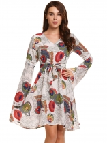 White Flare Sleeve Ethnic Style Print V Neck Pleated Dress