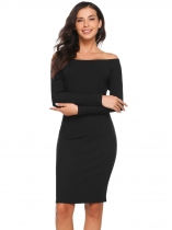 Black Solid Off Shoulder Long Sleeve Party Clubwear Bodycon Dress