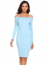 Baby Blue Solid Off Shoulder Long Sleeve Party Clubwear Bodycon Dress