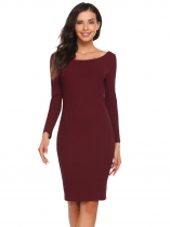Vin Rouge Rouge Vin Femmes Sexy Long Sleeve Solid Off Shoulder Party Clubwear Bodycon Pencil Dress