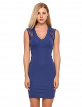 Femmes V-Neck sans manches en dentelle Slim Pencil Dress