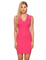 Rose red V-Neck Sleeveless Lace Patchwork Slim Pencil Dress