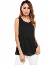 Black Sleeveless O Neck Solid Loose Pullover Chiffon Tank Tops