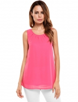 Pink Sleeveless O Neck Solid Loose Pullover Chiffon Tank Tops