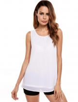 White Sleeveless O Neck Solid Loose Pullover Chiffon Tank Tops