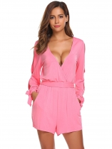 Dark pink Women Deep V-Neck Long Sleeve Cuff Tie Solid Belt Rompers