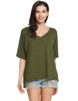 Army green Solid Loose Raglan Sleeve Slit Short Sleeve V Neck Pullover Comfy T-Shirt