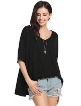 Black Solid Loose Raglan Sleeve Slit Short Sleeve V Neck Pullover Comfy T-Shirt