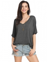 Dark gray Solid Loose Raglan Sleeve Slit Short Sleeve V Neck Pullover Comfy T-Shirt