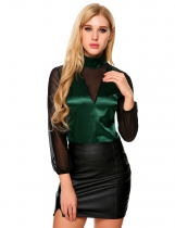 Green Mesh Patchwork Stand Collar Long Sleeve Tops