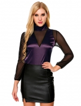 Purple Mesh Patchwork Stand Collar Long Sleeve Tops