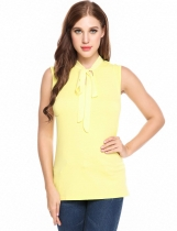 Yellow Casual V-Neck Chiffon Bandage Patchwork Elastic Tank Top