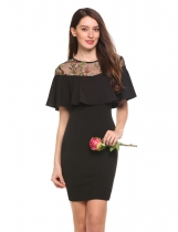 Black Short Sleeve Floral Embroidered Patchwork Dress