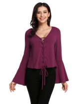 Wine red Nouvelles femmes Casual v-cou Flare Long Sleeve solide Croix-Strap Top