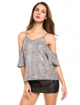 Gray Solid Spaghetti Strap Half Sleeve Sexy Cold Shoulder Tops