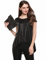 Black Cap Sleeve Irregular Hem Casual Loose Fit Metallic T-Shirts