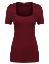 Wine red Solid Square Neck Short Sleeve Buttoned Slim Fit T-Shirts