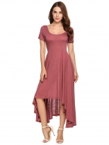 Wine red Scoop Neck Solid Irregular Hem Dress
