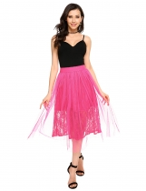 Rose red Floral Lace Mesh Layered Scalloped Waistline Tulle Midi Skirt