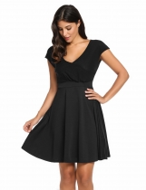 Black V-Neck Cap Sleeve Solid Casual Summer Skater Casual Dress