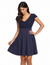 Navy blue V-Neck Cap Sleeve Solid Casual Summer Skater Casual Dress