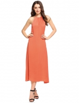 Orange Halter Sleeveless Backless Beach Maxi Dress