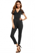 Black V Neck Lace Sleeve Patchwork Elastic Jumpsuit