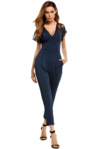 Navy blue V Neck Lace Sleeve Patchwork Elastic Jumpsuit