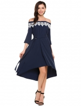 Navy blue Slash Neck Off Shoulder 3/4 Sleeve Pleated Dress wifh Belt