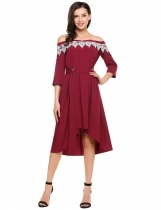 Wine red Slash Neck Off Shoulder 3/4 Sleeve Pleated Dress wifh Belt