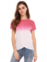 Gradient Pink Gradient Tied Short Sleeve O Neck Pullover T-Shirt