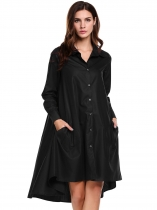 Black Turn-down Collar Long Sleeve Solid Button-down Asymmetrical Hem Shirts Dress