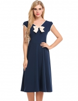 Blue V-neck Pleated Large Swing Casual Dress